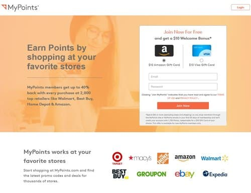 Earn 40% cash back rewards with Mypoints.