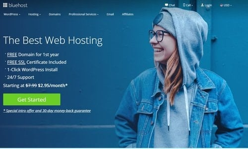 Choose Bluehost to start a blog.